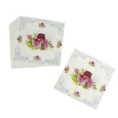 NewTabShop(TM) 20pcs Flower Paper Napkin Rose Party Tissue Napkins decoupage Decoration paperJH