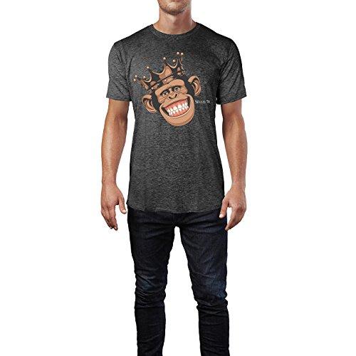 SINUS ART® Lustiger Affe mit Krone Herren T-Shirts in dunkelgrau Fun Shirt mit tollen Aufdruck