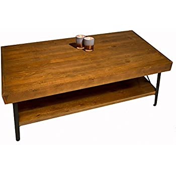 Solid Wood Rustic Coffee Table For Living Room   Solid Wood Top   Sturdy  Metal Frame