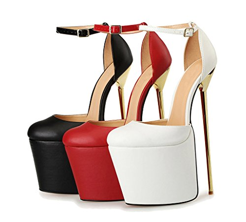 Strap Dorsay Pumps Black High CAMSSOO Heel Ladies Stiletto Shoes Platform Ankle Womens W0nzZqUX