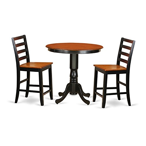 East West Furniture JAFA3-BLK-W 3 Piece High Table and 2 Kitchen Chairs Set, Black/Cherry Finish