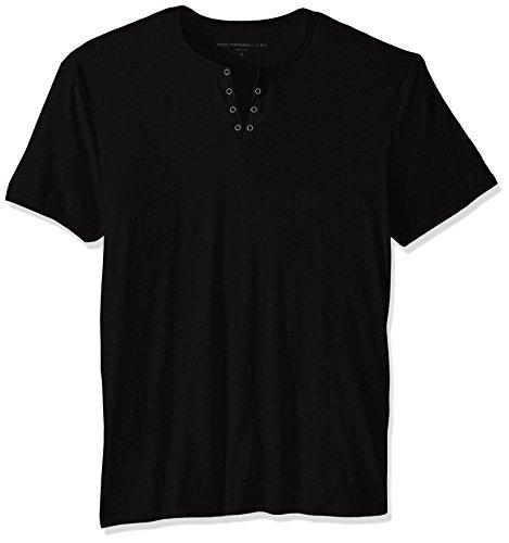 John Varvatos Star USA Men's Eyelet Henley Shirt, Black, - Varvatos Eyelets