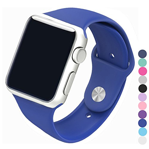 Piwjo Silicone Apple Watch Band and Replacement Iwatch Bands Series 1, Series 2,Series 3(Royal Blue, 42mm M/L)