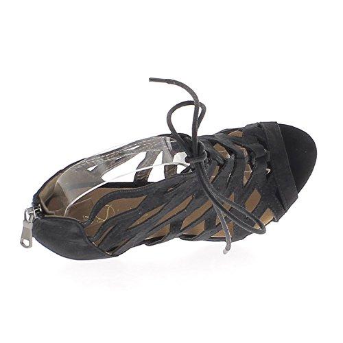 Sandalias negro al final 10.5 cm cordones ante mirada talón