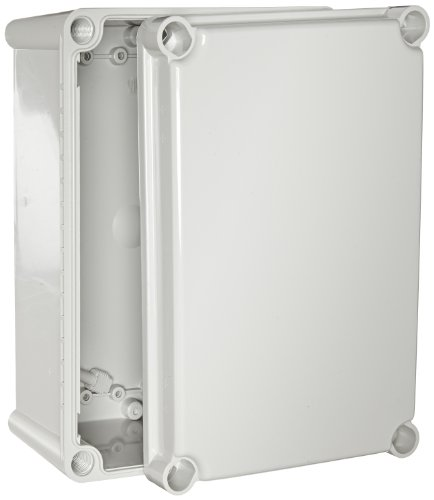 BUD Industries NBD-15442 Style D Plastic Outdoor Box with Solid Door, 11-1/64'' Length x 7-15/32'' Width x 5-1/64'' Height, Light Gray Finish by BUD Industries