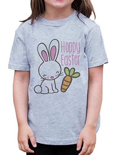 7 ate 9 Apparel Girl's Hoppy Easter T-Shirt Large Grey