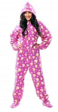 650167d35a Amazon.com  Jumping Jammers Purple Duck Hoodie Adult Footed Pajamas ...