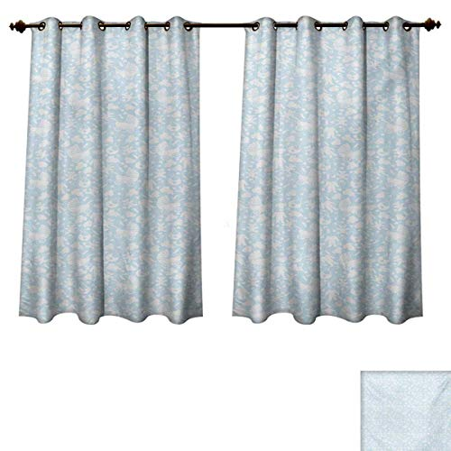 - RuppertTextile Baby Blackout Thermal Curtain Panel Hearts Background with Teddy Bears Strollers Infant Clothes Newborn Child Theme Window Curtain Fabric Pale Blue White W52 x L63 inch