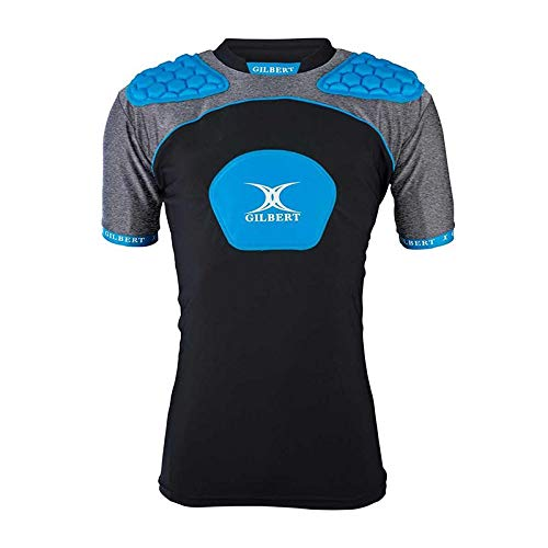 - Gilbert Atomic V3 Body Armour Rugby Vest - Adult - Black/Silver/Blue - M
