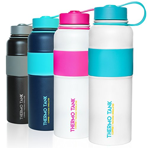 Thermo Tank Insulated Stainless Steel Water Bottle - Ice Cold 36 Hours! Vacuum + Copper Technology - SS Inner Lid, Silicone Grip - 40 Ounce (White + Mint, 40oz) ()