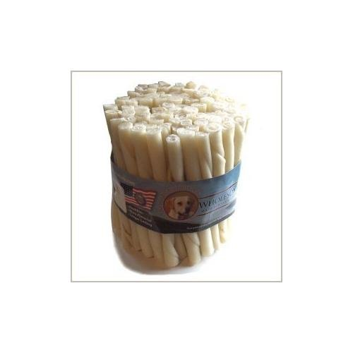 Wholesome Hide Beef Hide Twists - 5 inches long - 1/2 inch across - Economy Package of 100 by Wholesome Hide