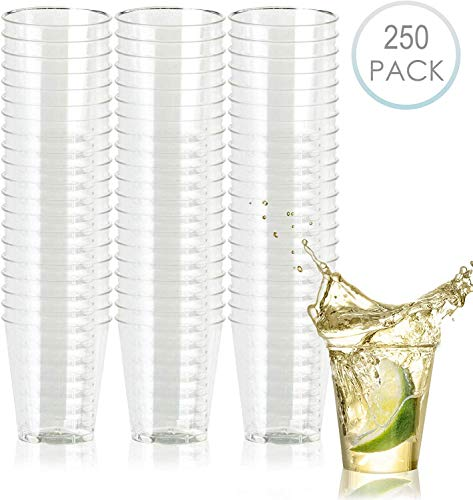 250 Disposable Hard Plastic Shot Glasses, Crystal Clear 2oz - Heavy Duty, Reusable Party Shot Cups - for Jello Shots Whiskey Sample Food Wine Tasting Desserts Weddings Birthdays Christmas.