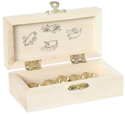 Piglet dice DELUXE - Roll -Throw the pigs - Simple funny game in WOODEN box - Family, party board game