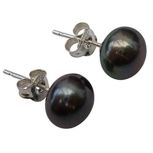 8mm Peacock (Black) Cultured Pearl Silver 925 Stud Earrings by Pearls Paradise (Image #1)