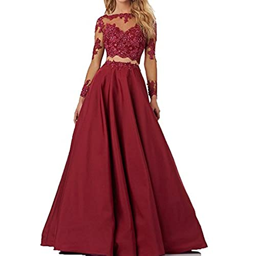 Long Burgundy Two Piece Dress: Amazon.com