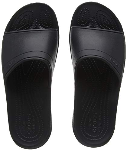 Crocs Unisex Classic Slide Sandal, Black, 11 US Men / 13 US Women