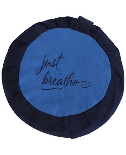 Just Breathe Zafu Meditation Cushion, Blue and Navy (With Organic Buckwheat Fill)