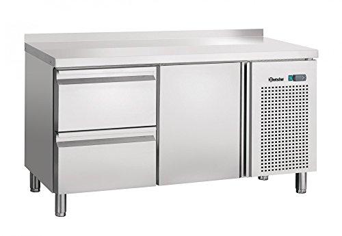 Table réfrigérée ventilée, 1 porte, 2 tiroirs avec dosseret 50 mm