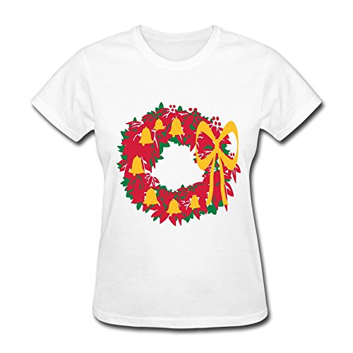 PTCY Make Your Own Women's T Shirts Cool Bows Bells Christmas Reef US Size L White