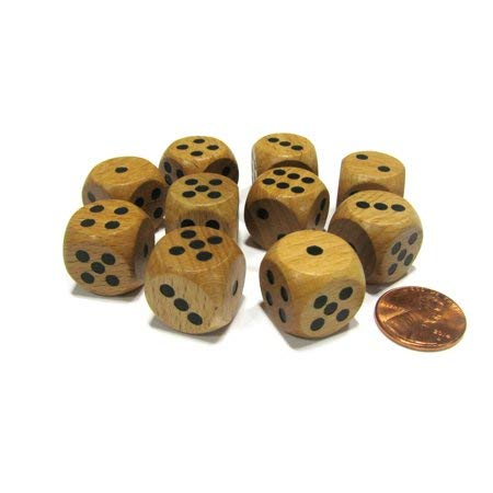 Set of 10 D6 Six Sided 16mm Round Edge Wooden Dice ~ Wood Dice -