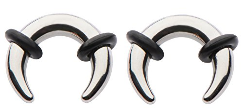 Zaya Body Jewelry Pair Steel Ear Plugs Tunnels Tapers Pinchers Horseshoes Gauges 0g 1g 2g 4g 6g 8g 10g 12g 14g (1g 7mm)