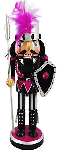 Christmas Nutcracker Figure Knight Bright Raspberry Fun Feather And Crystal Details 10 Inch Exclusive Design (Christmas Crystal Nutcracker)