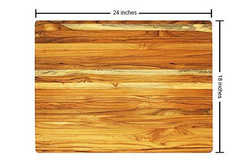 Terra Teak Cutting Board - Extra Large Wood Board 24 x 18 x 1.5 Inch by Thirteen Chefs (Image #3)