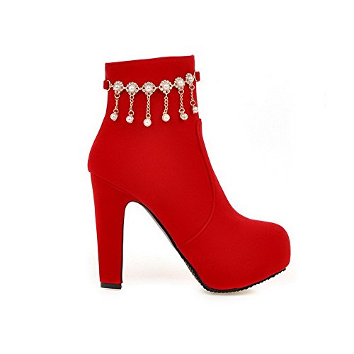 AmoonyFashion Womens Round Closed Toe Low Top High Heels Solid Imitated Suede Boots Red siDRlq