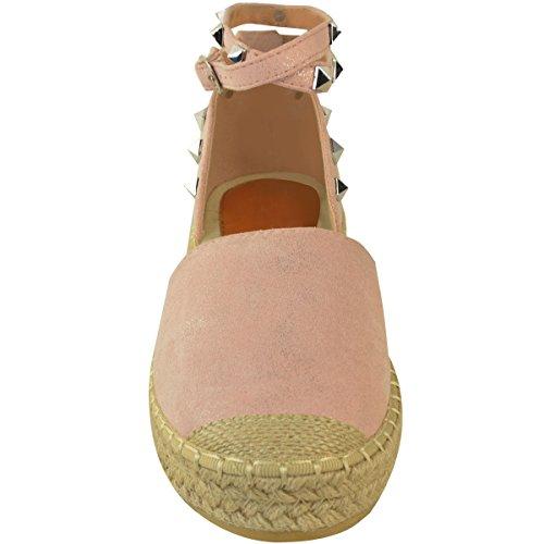 Mode Törstig Kvinna Espadriller Kil Plattform Sandaler Sommarankel Strappy Skor Storlek Pastellrosa Faux Mocka
