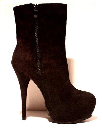 Erogance Velour Plateau High Heels - Zapatos de vestir para mujer negro - negro