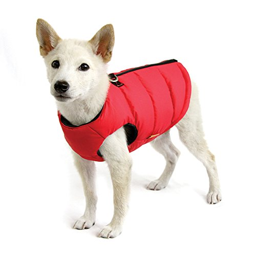 Gooby - Padded Vest Solid, Dog Jacket Coat Sweater Zipper Closure Leash Ring, Solid Red, Medium