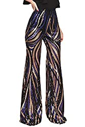 Women's High Waist Flare Sequin Trousers