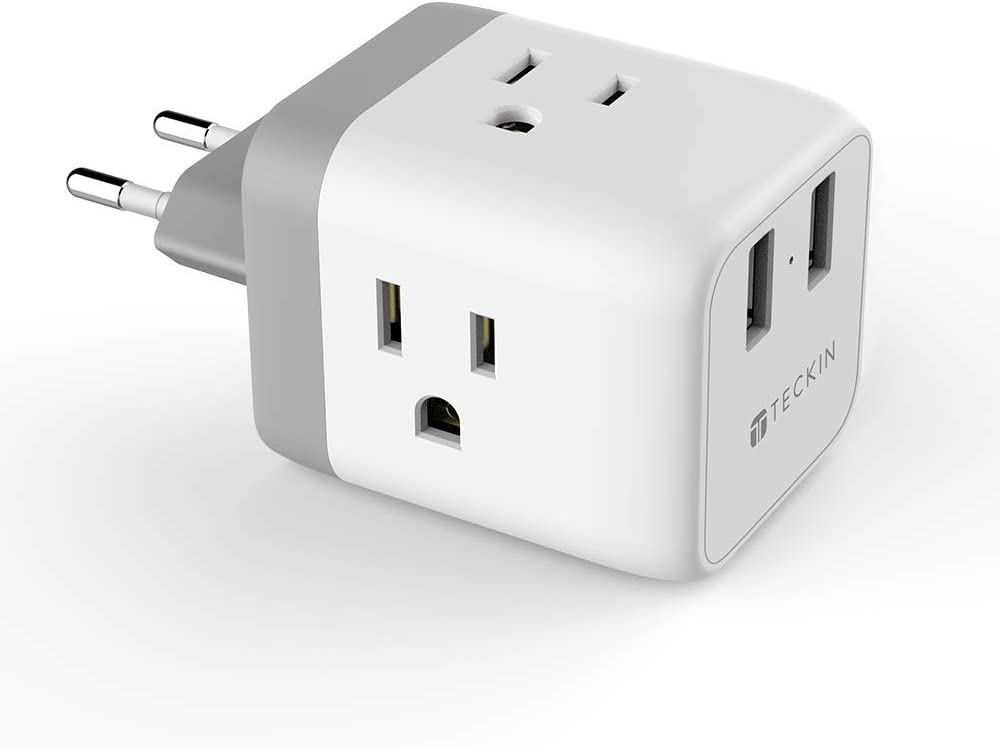 European Travel Plug Adapter,TECKIN Power Adapter with 3 American Outlets & 2 USB Ports,5 in 1 US to EU Power Outlet Adapter,Type C Plug for German,Italy,France,Spain,White