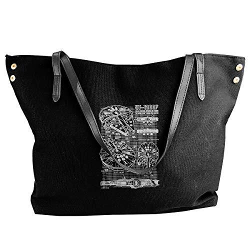 Casual Canvas Shoulder Bag Style3 Millennium Falcon Light Weight Tote Shopper - Handbag Millennium Leather