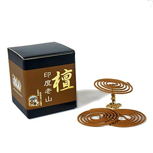 Indo LaoShan Sandalwood Incense Coils 48pcs 3.5hrs with Incense Clip