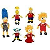 Los Simpsons - Peluches Pack familia Sport más Krusty el payaso 22cm - Calidad Nylex