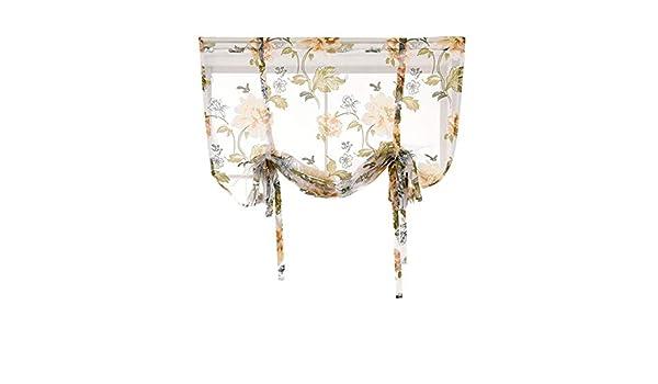 Deesee (TM) - Barra de cortina para cocina, baño, ventana, cortina romana, diseño floral, cenefas de gasa: Amazon.es: Bricolaje y herramientas