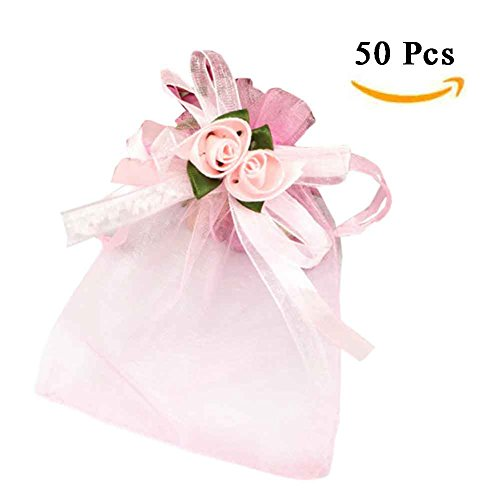 ZTL 50PCS Flower Bowknot Organza Candy Bags Drawstring Gift Jewelry Pouches Wedding Favor Bags 3.9