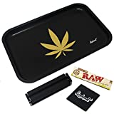 "Full Size Rolling Tray Bundle – 12"" x 8'' Tray + 110mm Rolling Machine + King Size Raw Rolling Papers – Lionhead (Black)"