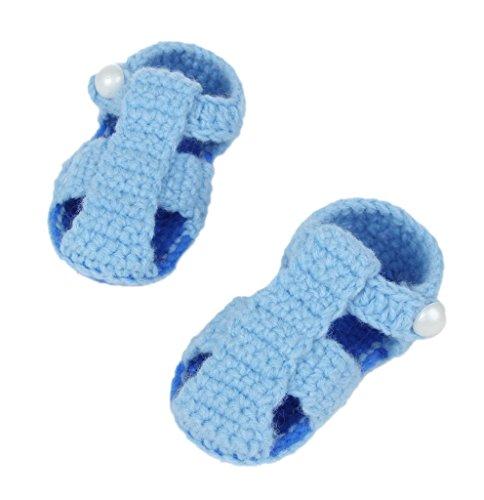 Bigood Strickschuh One Size Strick Schuh Baby Unisex süße Muster 11cm Knopf Blau A