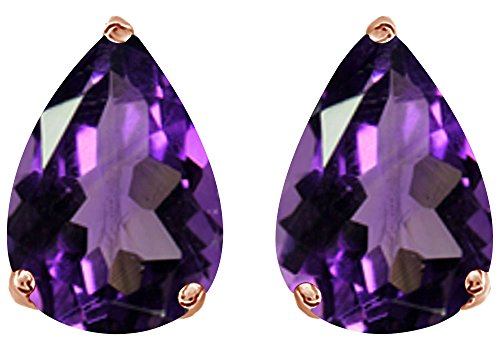 Christmas Sale Simulated Violet Amethyst Pear Shape Stud Earrings In 14K Rose Gold Over Sterling Silver (1 Ct)