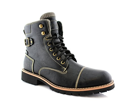 Polar Fox Brady MPX508571 Dual Lace-up & Zipper Combat Boot Black 9.5