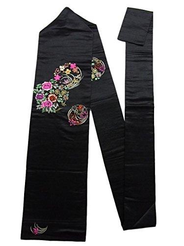 寝室つぶやきジムアンティーク 名古屋帯 繻子 刺繍 四季の花々の花丸文 正絹 黒