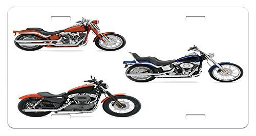 zaeshe3536658 Motorcycle License Plate, Illustration of Three Motorcycles Freedom Transport Risky Extreme Sports Theme, High Gloss Aluminum Novelty Plate, 6 X 12 Inches, Orange Black