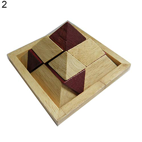 (xxiaoTHAWxe Wood Brain Teaser with Kongming Lock 3D Cube Puzzle Toys,Developing Hand Brain Combination and Intelligence,Best Educational Birthday Gift for Kids Adults Pyramid)