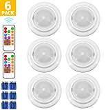 Wireless LED Closet Lights, RGB Color Changing Puck Light with 2 Remote Control, Touch Sensor LED Night Light, Battery Operated Under Cabinet Light - 6 Pack (18 PCS Battery Included)