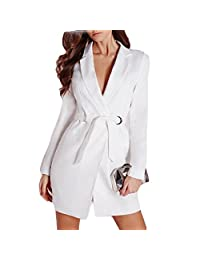 Haoduoyi Solid White High Waist Casual Slim OL Plunge Neck Elegant Blazer Mini Dress