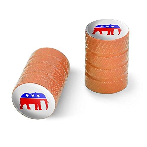 共和党象GOP保守アメリカ政党オートバイ自転車バイクタイヤリムホイールアルミバルブステムキャップ - オレンジ