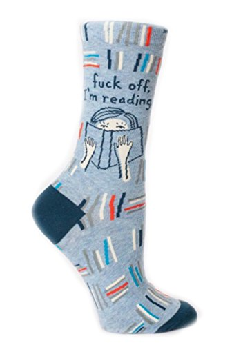 Blue Q Socks, Women's Crew, F--k Off I'm Reading, size 5-10
