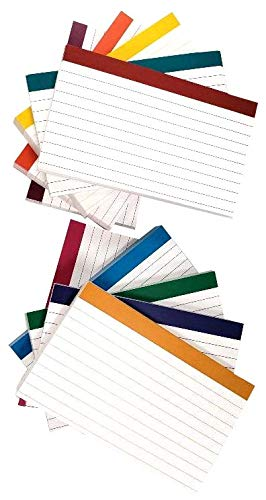 DEBRADALE DESIGNS - Color Bar Ruled Single Sided Index Cards - 3 x 5 Inches - White - 500 (50 each of 10 colors) - Wrapped in 2 packages of - Coded Cardstock Color Colored